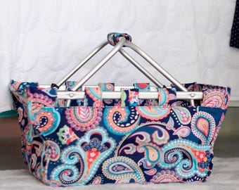 Personalized Market Tote Blue Paisley Monogrammed Shopping Tote