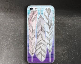 Purple feathers case for iPhone 5s Case for iPhone 5 Case for iPhone Se Case ombre rubber for iPhone 5c Case for iPhone 4 Case purple