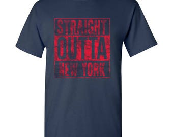 Straight Outta New York Basic Cotton T-Shirt - Navy