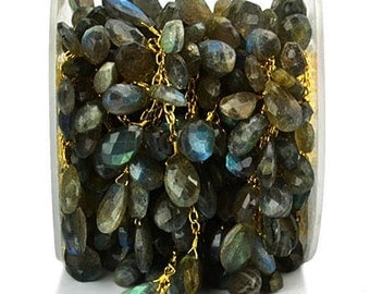 40% OFF Labradorite Briolette Rosary Chain, 10x7mm Faceted Tear Drops 24k Gold Plated wire wrapped Beads Chain.(GPLB-30069