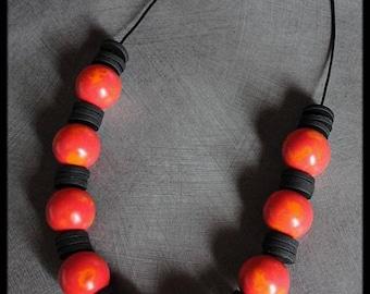 Necklace polymer orange reds shades