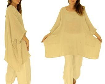 HZ800BG ladies tunic poncho blouse linen gauze layered look one size beige Gr. 42, 44, 46, 48, 50, 52, 54