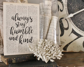 Always Stay HUMBLE and KIND Wood Sign Vintage Dictionary Verse Art Print Farmhouse Decor Wedding Scripture Fixer Upper Decor