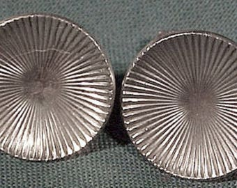 Birks Sterling Silver Rayed Circles Earrings 1940s-1950