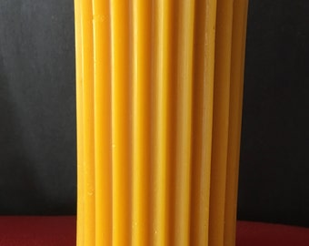"""Fluted beeswax pillar candle, 2.5"""" W x 5.5"""" H"""