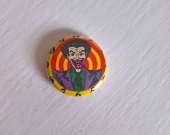 Time for Jokes Vintage Comic Book Pinback Button --- Retro 1970's Joker DC Villain Batman Gotham --- Nerd Geek Justice League Accessory Pin