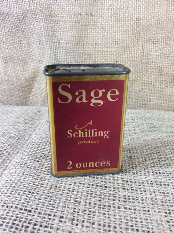 Super Schilling Sage spice tin from the 1930's, vintage spice tin, A Schilling product Sage spice tin, spice tin collectible, San Francisco