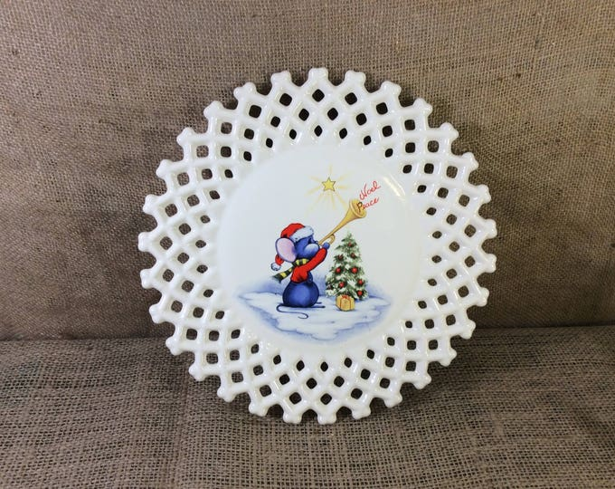 Vintage Christmas plate handmade from 1984, cute Christmas decor, handmade Christmas decor, great gift, Christmas decorations from 1984
