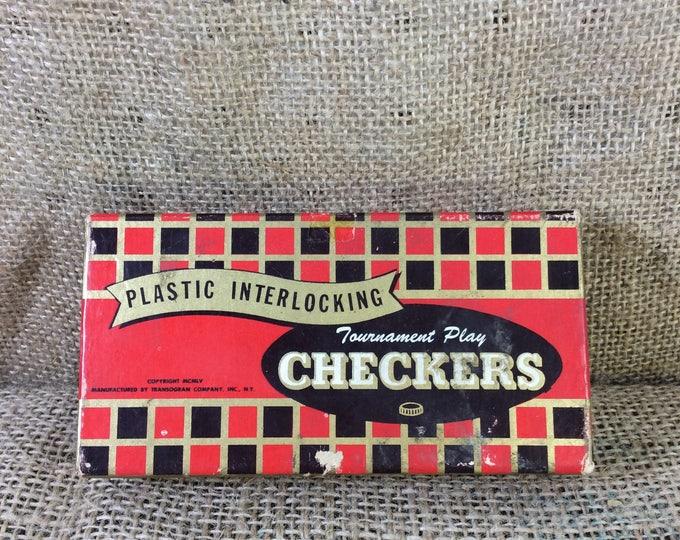 Vintage 1955 Transogram checkers, Transogram Tournament plastic interlocking pieces,