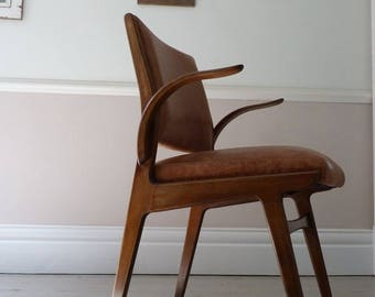Vintage Swedish Leather Office Chair / Desk Chair c.1955