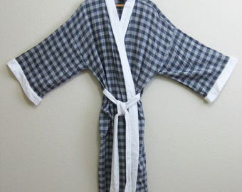 IZOD Gray Plaid Robe Terry Cloth Accent - One Size