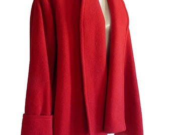 Red wool jacket  Balla Valentina Wrap Asymmetrical hem Shawl Front Swing  1980s Free size