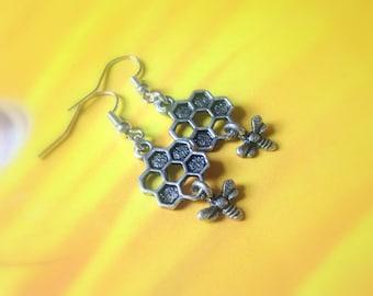 Funny earrings etsy honey and bee earrings honey comb honeycomb queen bee earrings teen gift negle Choice Image
