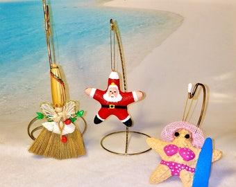 INVENTORY SALE!!! Coastal Beach Holiday Ornaments Santa/ Sun Surfing Starfish/ Broom Angel Hanging Tree Decorations Cottage Christmas Decor
