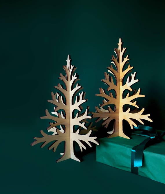 30cm / 11,8in laser-cut plywood table top Christmas tree, rustic Holiday home decoration, wooden laser cut table-top tree,