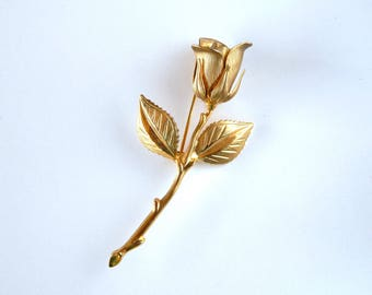 Vintage Gold Rose Pin, Flower Pin Gold Tone, Gold Rose Brooch, Whimsical Flower Brooch, Mid Century Romantic Jewelry, Estate Jewelry
