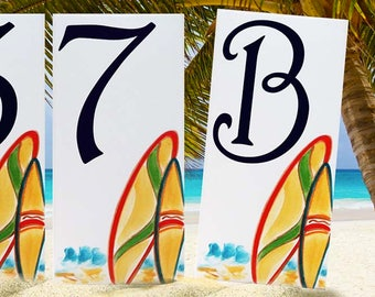 Surf house number, surfboard ceramic house number plaque, porcelain surfs up, hand painted house sign, door sign, individual address sign