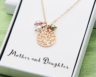 Family Tree Necklace, Mother Necklace, Birthstone Necklace, Rose Gold Tree of Life Necklace, Mom Necklace, Personalized necklace, Nana gift