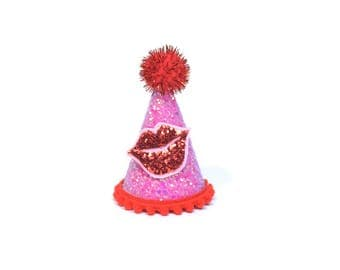 Valentine Party Hat with Glitter Kiss February Birthday Crown Valentines Gift For Kids