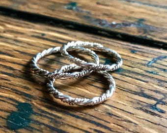 Sterling Silver Hand Forged Twisted Wire Stacking Ring