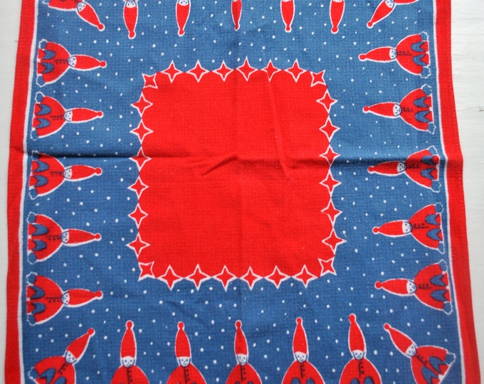 "Swedish Mid Century Modern Tomte Table Cloth 14"" Square Christmas Jul"