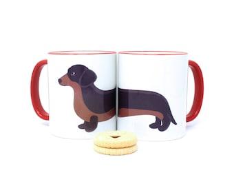 Dachshund mug, dog mug, cute dog mug, ceramic mug, dog gifts, dachshund gift, sausage dog mug, gift for her, tea cup, coffee cup