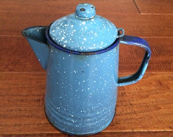 Graniteware Coffee Pot, Blue Graniteware Pot, Small Coffee Pot, Metal Coffee Pot, Blue Speckled  Pot, Shabby Chic Coffee Pot, Home Decor