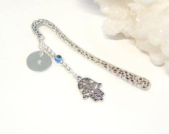 Hamsa Hand Bookmark with Initial, Hand Stamped Bookmark, Customized Gift, Handmade Bookmarks, Personalized Unisex Gifts