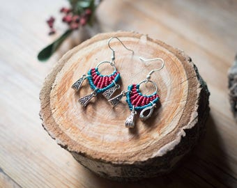 Maya macrame earrings, tribal macrame earrings, macrame earrings, micromacrame earrings, boho macrame earrings