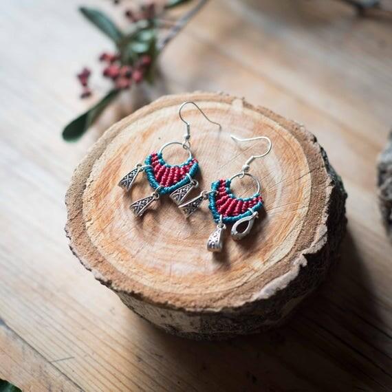 Maya macrame earrings