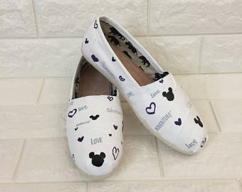 disney inspired believe shoe white disney toms mickey toms believe toms disney