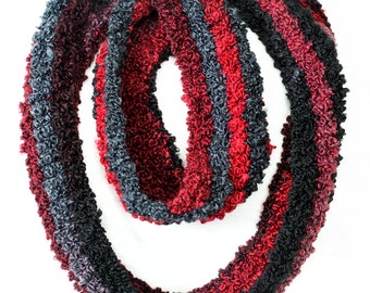 Red and black boucle super soft infinity scarf