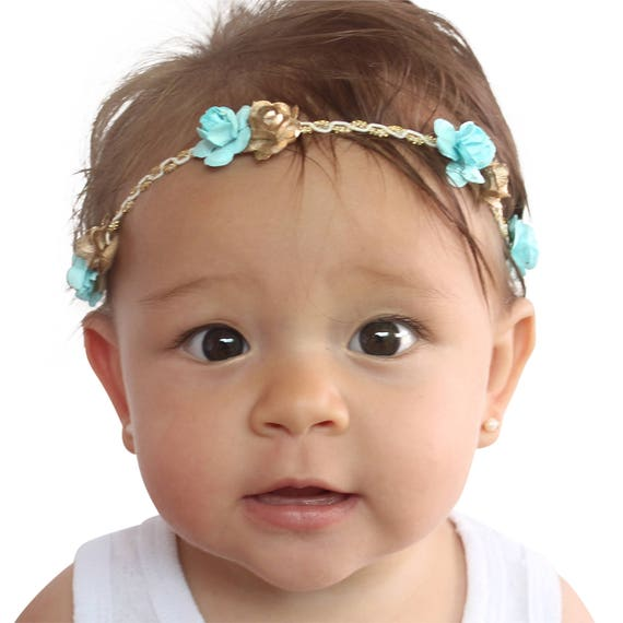 Blue Headband, Gold Baby Headband, Flowers Crown, Gold Leaf Headband, Paper Flowers Headband, Girls Headband Flowers, Blue Headband