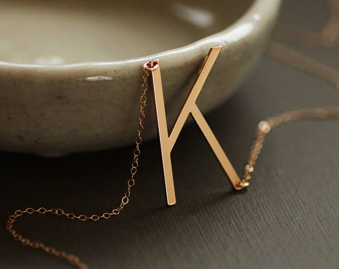 Large Initial Necklace Rose Gold, Yellow Gold, Silver - Oversized Letter Necklace