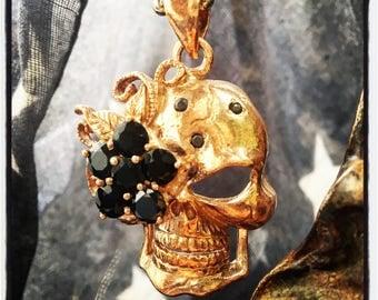 Sterling Silver Skull pendant Silver Skull pendant Gold Skull Pendant Pink Gold Skull Pendant Skulls Pendant Skull Necklace Biker Pendant