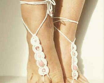Barefoot sandals,crochet barefoot,boho barefoot, foot jewelery, beach jewelery,destination wedding sandals, bridal sandals, barefoot, anklet