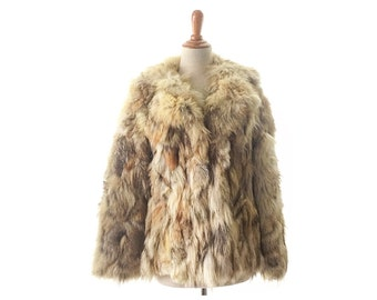 Boho coat fur coat small coyote fur coat coyote coat boho jacket patchwork fur coats  vintage fur coat, women's fur coat, vintage clothing