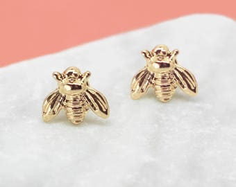 SALE Gold Bee Earrings, Bee Studs, Honey Bee Earrings, Dainty Gold Studs, Bee Stud Earrings, Bee Jewellery, Tiny Studs, Woodland