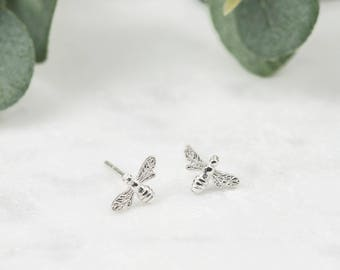 Sterling Silver Bee Earrings • Silver Bee Studs • Honey Bee Earrings • Dainty Silver Studs • Bee Stud Earrings • Bee Jewellery • Tiny Studs