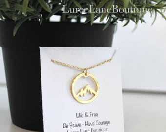 Mountain necklace/Mountain pendant/Mountain jewelry/Friendship necklace/Birthday necklace/Hiker necklace/Nature necklace/Camping pendant