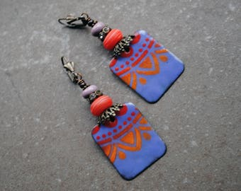 Enameled Copper Earrings, Rustic Earrings, Bohemian earrings, Artisan Copper earrings, Long Dangle Earrings, Tribal earrings, lampwork