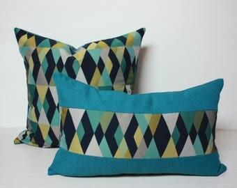 Blue pillows, Harlequin Midnight Layered Diamond Design Blue,  arc com fabrics, diamond pillows, modern pillows