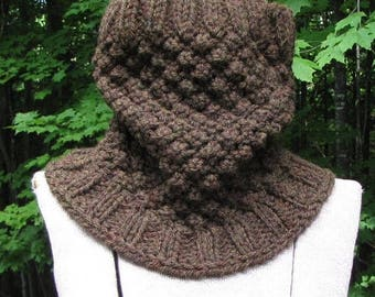 SALE 30% OFF Walnut Brown Chunky Wool Cowl - Warm Wooly Neckwarmer - Hand Knit Wool Scarf - Rugged Manly Neck Wear - Great Gift for Guys