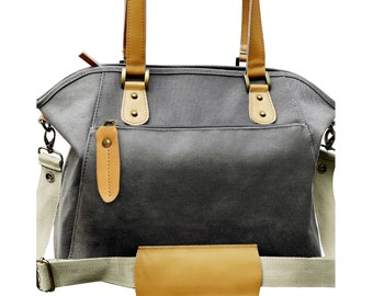 Canvas Leather Convertible Diaper Bag, Sturdy, Stand Alone, Can Worn as A Tote Bag, Messenger Bag And Backpack. Baby Accessories Included