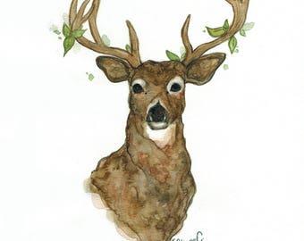 Moss the Deer (original watercolor)