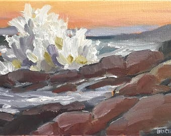 Oil Painting, Crashing Surf