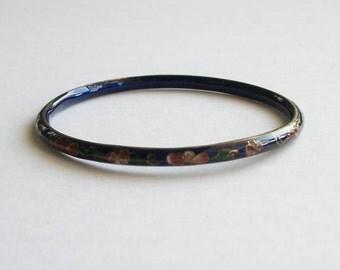 Vintage Bracelet Cloisonne Bracelet Enamel Flower Bracelet Blue Red Green Bracelet Vintage Jewelry Bangle Bracelet