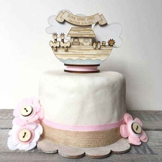 Noah's Ark Christening topper - personalised cake topper - baptism topper - Keepsake decoration