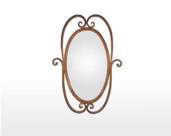 Miroir en fer forgé avec faux fini vieux cuivre (mir-vol)