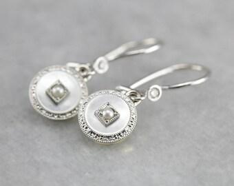 Mother of Pearl Drop Earrings, Pearl and Diamond Earrings, Cufflink Earrings, Upcycled Jewelry 7J5MYPZJ-R